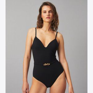 Tory Burch Jessa Belted One Piece Swimsuit size S
